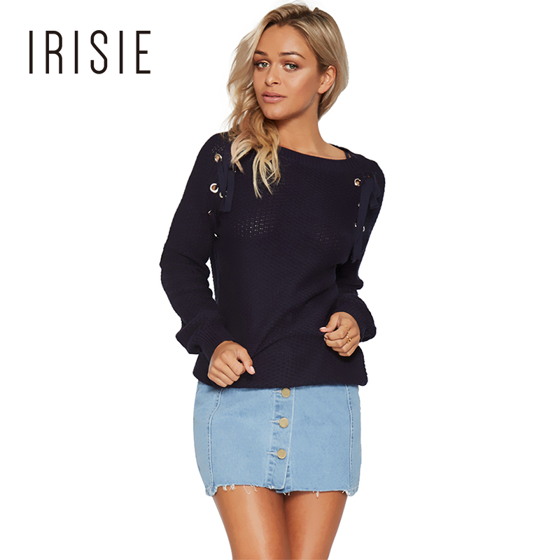 IRISIE 2017 Navy Blue Autumn Fashion Sweaters Women Solid Hollow Out Joker Jumper Casual O-neck Long Sleeve Strap Lady Sweaters